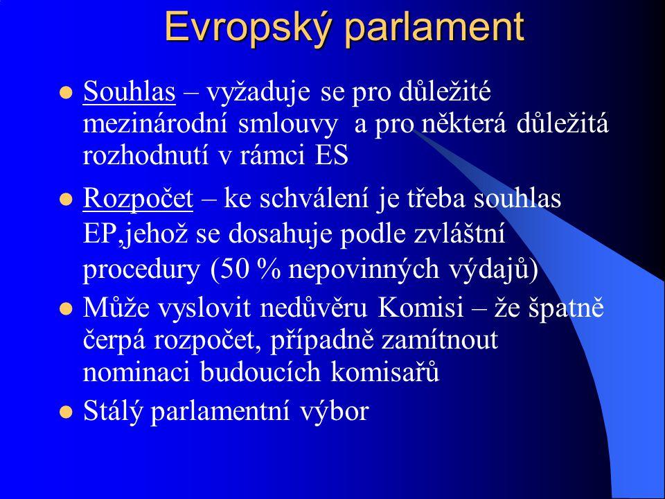 Souhlas – vyžaduje se pro důležité mezinárodní smlouvy a pro některá důležitá rozhodnutí v rámci ES Rozpočet – ke schválení je třeba souhlas EP,jehož