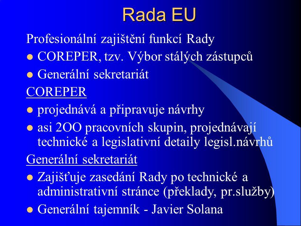 Ustavena 1974 v Paříži Orgán pro politickou spolupráci Schází se 2x až 3x ročně, dle potřeby Hlavy státu, případně předsedové vlád, za účasti úřadujícího předsedy EK Není ustavena v zakládacích smlouvách Rozhodnutí legalizováno na základě následného rozhodnutí Rady EU Určuje základní nasměrování politik y EU Evropská rada (ER) Summit
