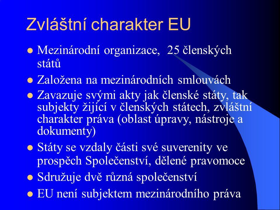 Zvláštní charakter EU Mezinárodní organizace, 25 členských států Založena na mezinárodních smlouvách Zavazuje svými akty jak členské státy, tak subjek