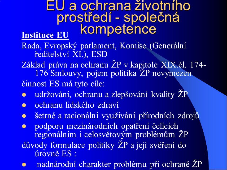 Instituce EU Rada, Evropský parlament, Komise (Generální ředitelství XI.), ESD Základ práva na ochranu ŽP v kapitole XIX.čl. 174- 176 Smlouvy, pojem p