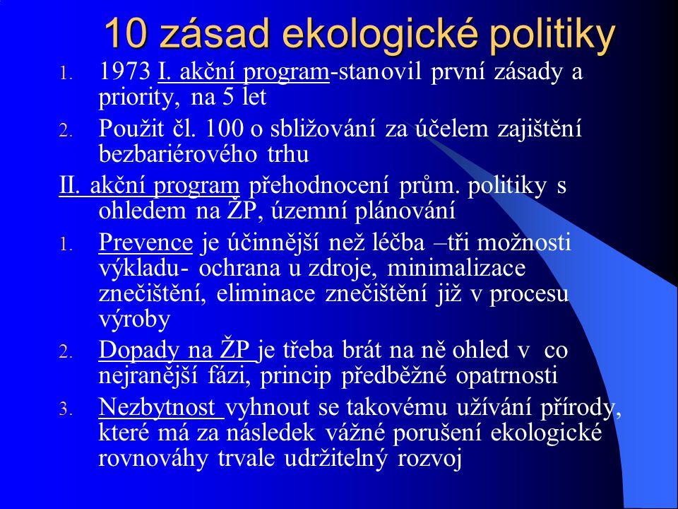 Vědecké poznání je třeba zdokonalit, vysoká úroveň ochrany Zásada platí znečišťovatel- náklady prevence a náhrady škody Aktivity čl.