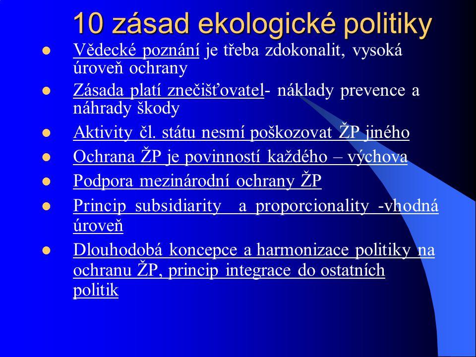 III.Akční program 1982 1. zachovávat, chránit a zlepšovat kvalitu ŽP 2.