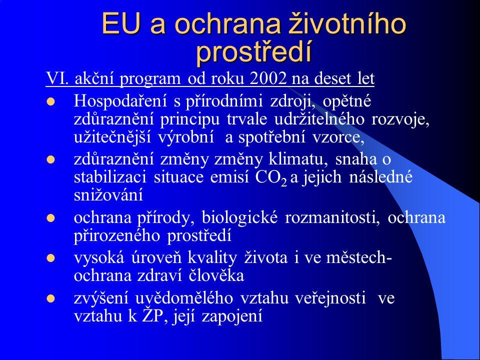 VI. akční program od roku 2002 na deset let Hospodaření s přírodními zdroji, opětné zdůraznění principu trvale udržitelného rozvoje, užitečnější výrob