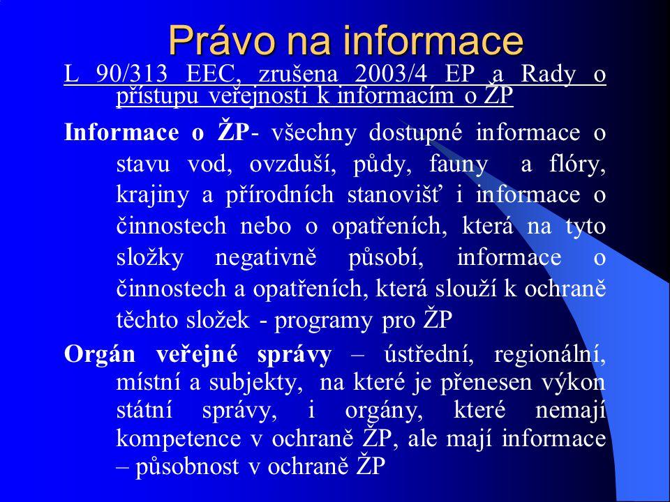 Právo na informace L 90/313 EEC, zrušena 2003/4 EP a Rady o přístupu veřejnosti k informacím o ŽP Informace o ŽP- všechny dostupné informace o stavu v