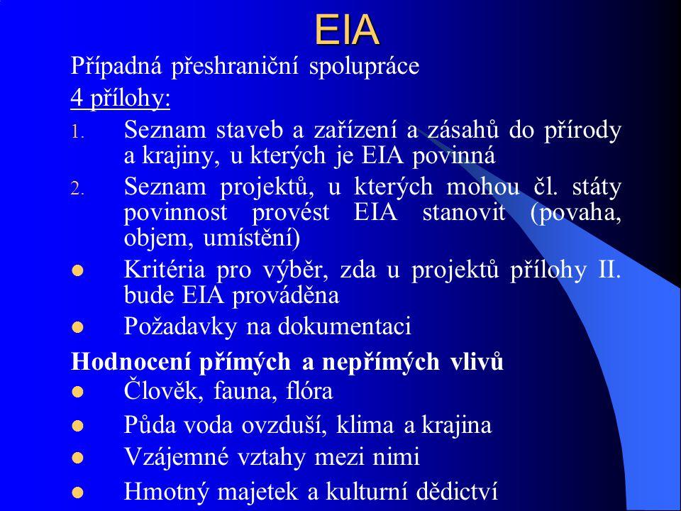 EIA Případná přeshraniční spolupráce 4 přílohy: 1. Seznam staveb a zařízení a zásahů do přírody a krajiny, u kterých je EIA povinná 2. Seznam projektů