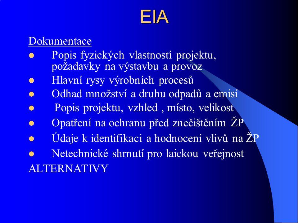 EIA Dokumentace Popis fyzických vlastností projektu, požadavky na výstavbu a provoz Hlavní rysy výrobních procesů Odhad množství a druhu odpadů a emis