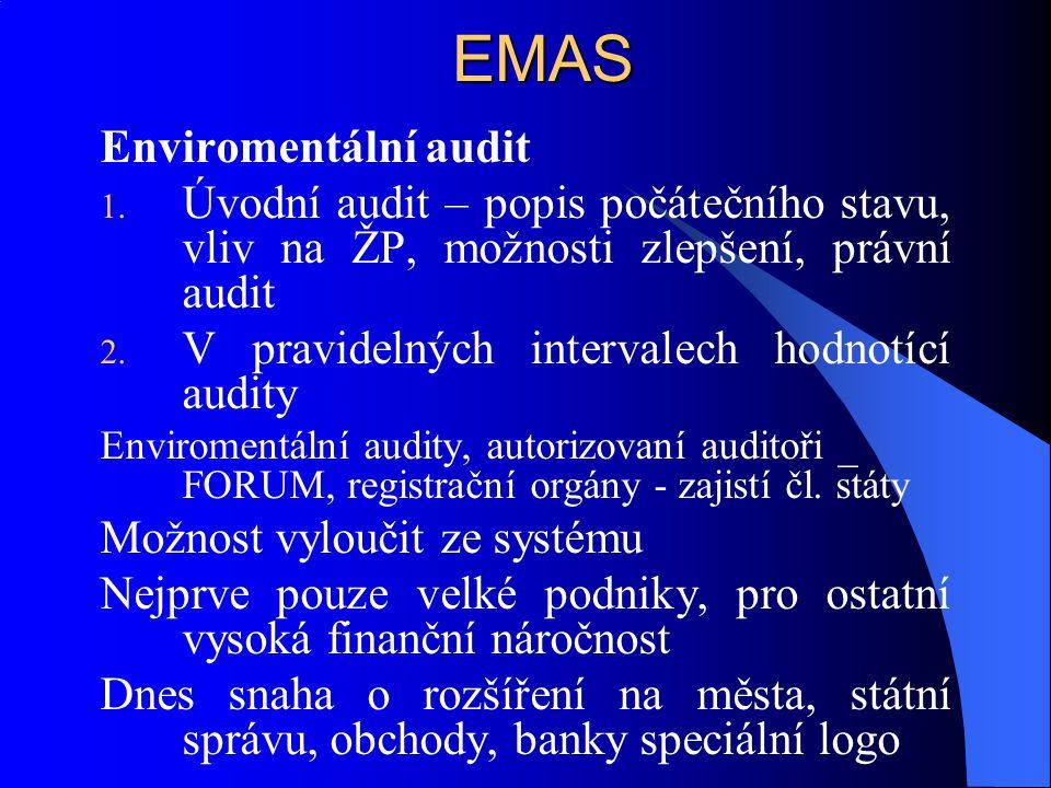EMAS Enviromentální audit 1. Úvodní audit – popis počátečního stavu, vliv na ŽP, možnosti zlepšení, právní audit 2. V pravidelných intervalech hodnotí