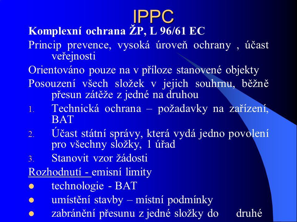 IPPC Obecné principy povolení Žádné výrazné znečištění Snaha o snížení produkce odpadů Účinné využívání energií Opatření, která mají zabránit haváriím Po ukončení provozu zabránit zatížení území Všechna nová zařízení ze seznamu a stará rekolaudace do r.
