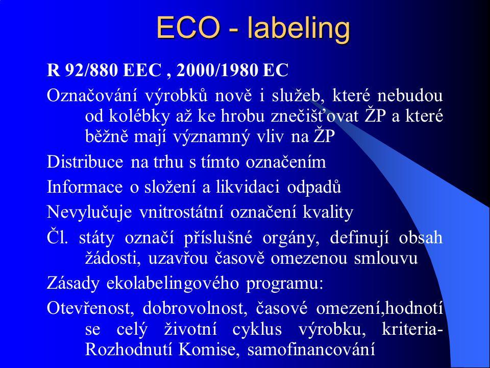 ECO - labeling R 92/880 EEC, 2000/1980 EC Označování výrobků nově i služeb, které nebudou od kolébky až ke hrobu znečišťovat ŽP a které běžně mají výz