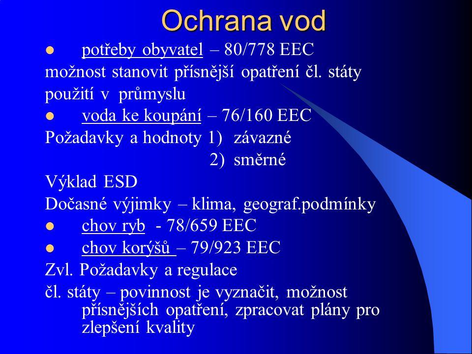 Ochrana vod II.A) Povrchové vody Rámcová směrnice, č.