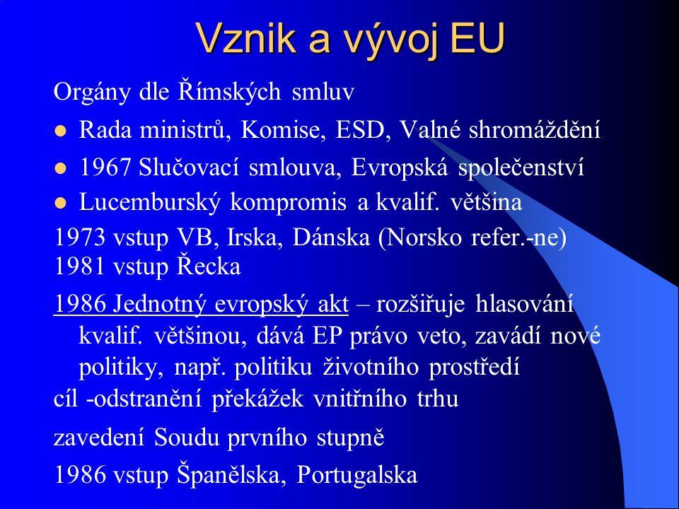 1993 Maastricht- zaveden pojem EU, občanství EU, 3 pilíře (prohloubení integrace) I.