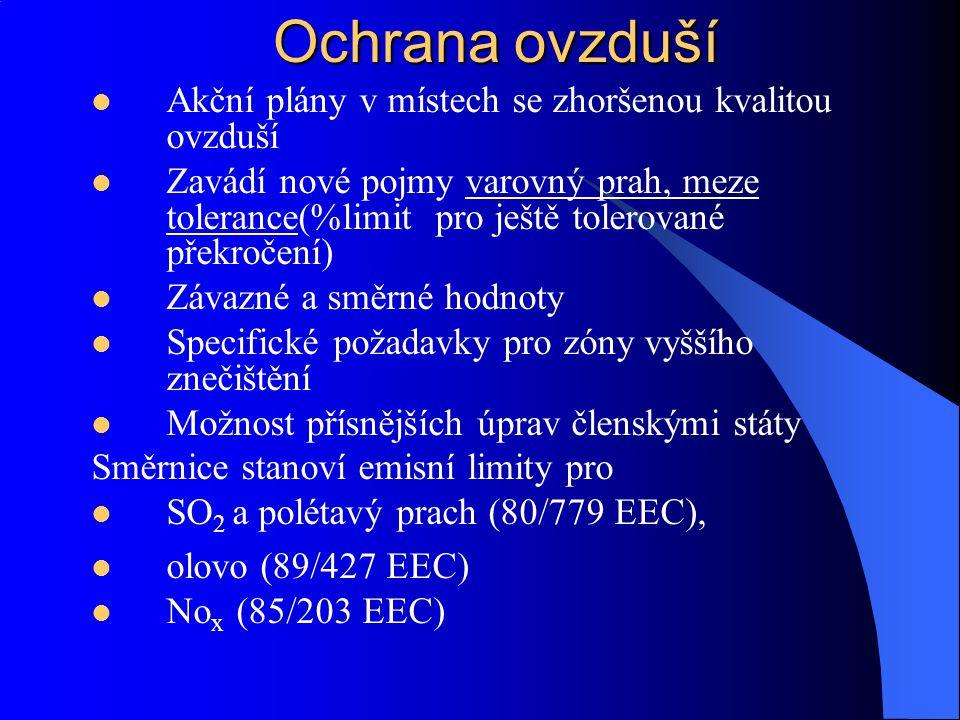 Ochrana ovzduší 2) Stanoví požadavky na paliva 75/716 EEC -Obsah síry v některých tekutých palivech – stanovila základní omezení 93/12 EC – obsah síry v topných plynech a motorové naftě 78/611 EEC obsah olova v benzínu – zavedení a distribuce bezolovnatého benzínu do 1.10 1989 3) Snaha o minimalizaci znečišťování ovzduší exhalacemi výfukových plynů z motorových vozidel 91/441 EEC Benzínové motory Dieslové motory Třícestné katalyzátory pro nová auta