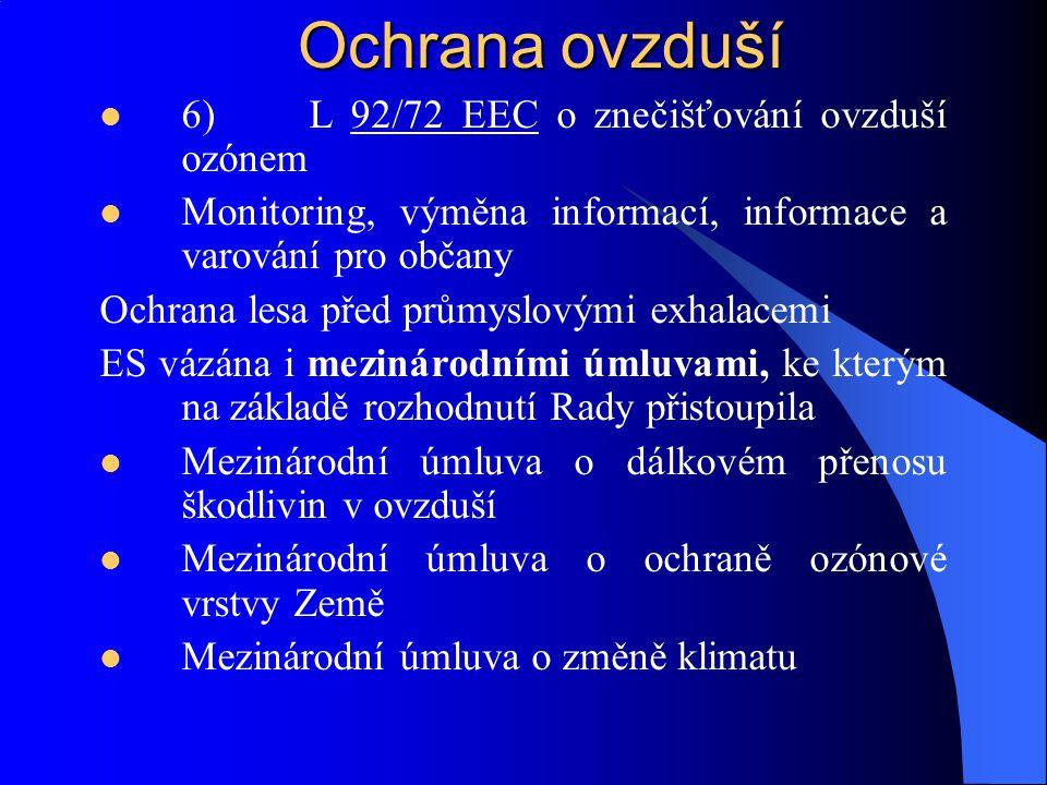 Ochrana ovzduší 6)L 92/72 EEC o znečišťování ovzduší ozónem Monitoring, výměna informací, informace a varování pro občany Ochrana lesa před průmyslový