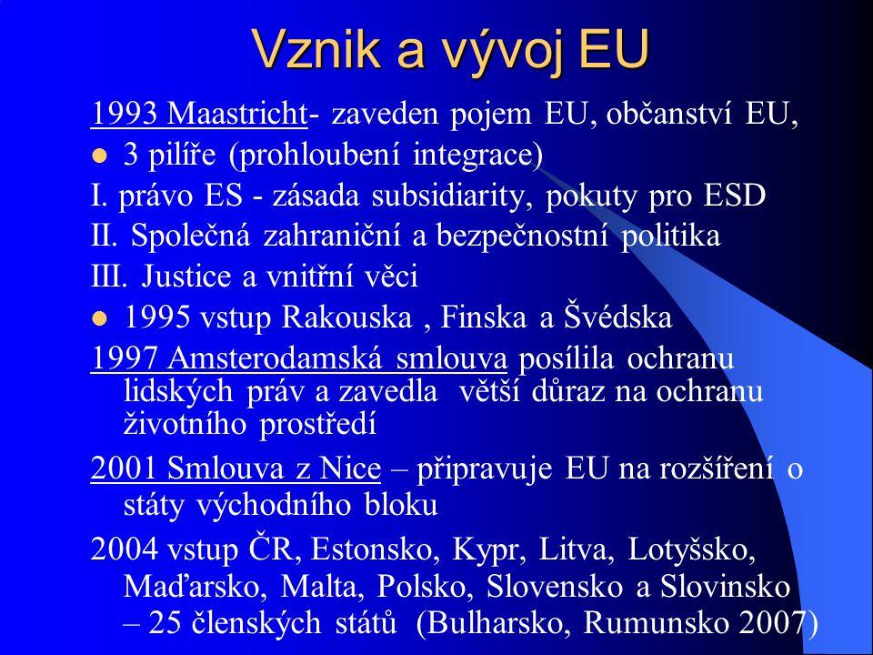 1993 Maastricht- zaveden pojem EU, občanství EU, 3 pilíře (prohloubení integrace) I. právo ES - zásada subsidiarity, pokuty pro ESD II. Společná zahra