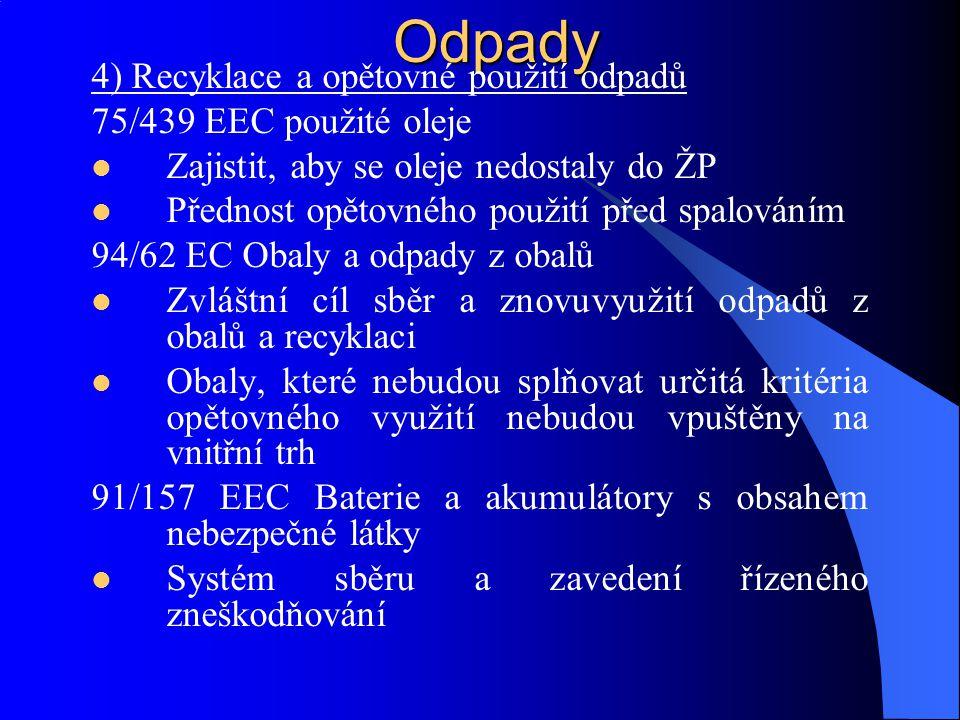 Odpady 4) Recyklace a opětovné použití odpadů 75/439 EEC použité oleje Zajistit, aby se oleje nedostaly do ŽP Přednost opětovného použití před spalová