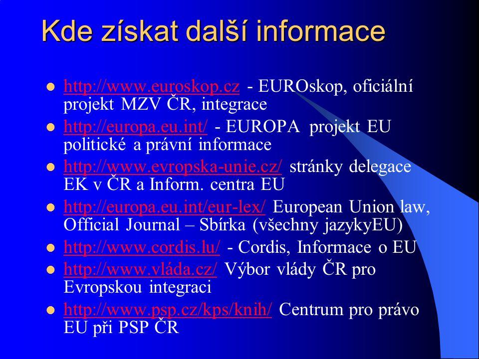 Kde získat další informace http://www.euroskop.cz - EUROskop, oficiální projekt MZV ČR, integrace http://www.euroskop.cz http://europa.eu.int/ - EUROP