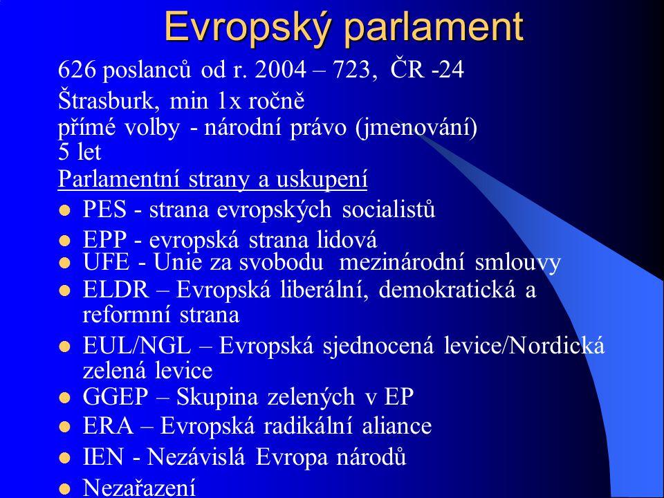 626 poslanců od r. 2004 – 723, ČR -24 Štrasburk, min 1x ročně přímé volby - národní právo (jmenování) 5 let Parlamentní strany a uskupení PES - strana