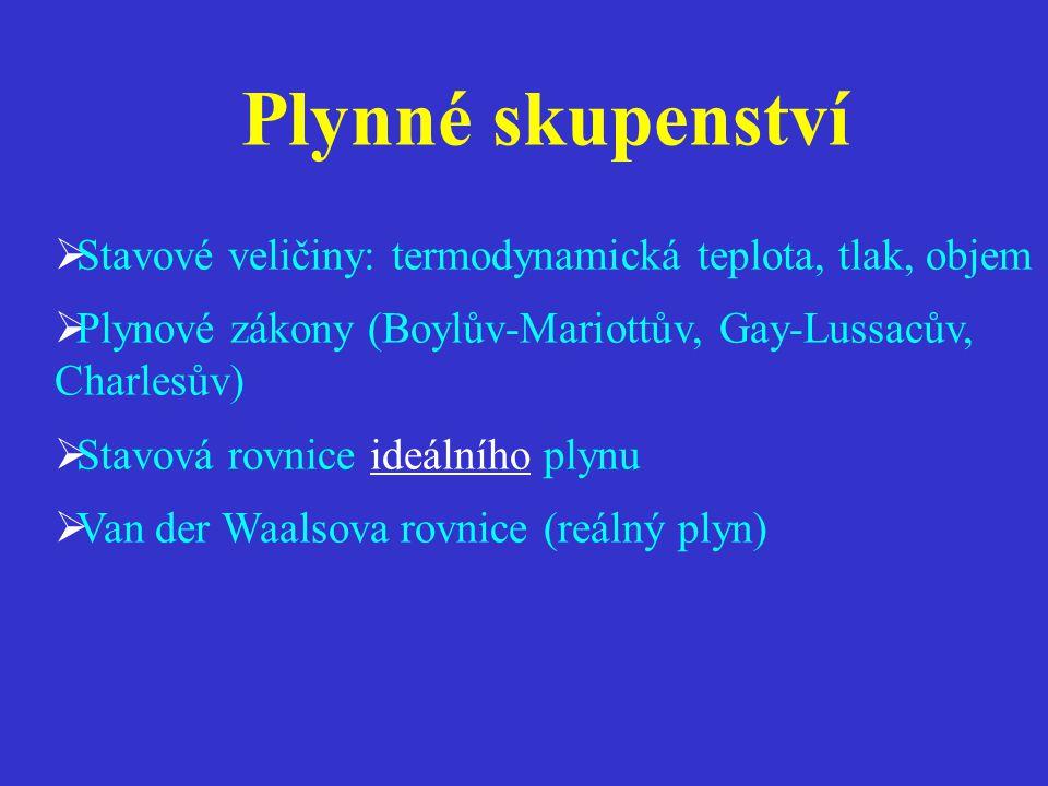  Stavové veličiny: termodynamická teplota, tlak, objem  Plynové zákony (Boylův-Mariottův, Gay-Lussacův, Charlesův)  Stavová rovnice ideálního plynu  Van der Waalsova rovnice (reálný plyn)