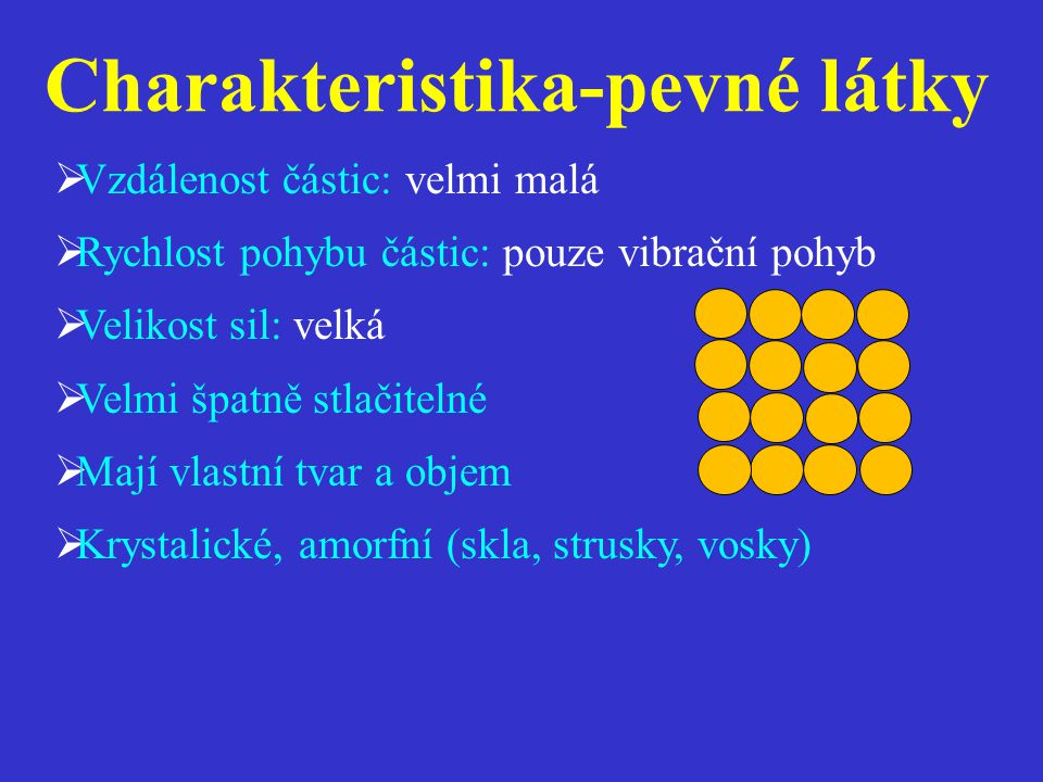  Vzdálenost částic: velmi malá  Rychlost pohybu částic: pouze vibrační pohyb  Velikost sil: velká  Velmi špatně stlačitelné  Mají vlastní tvar a objem  Krystalické, amorfní (skla, strusky, vosky) Charakteristika-pevné látky