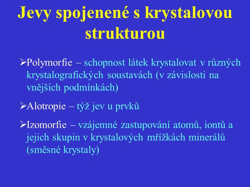 Jevy spojenené s krystalovou strukturou  Polymorfie – schopnost látek krystalovat v různých krystalografických soustavách (v závislosti na vnějších podmínkách)  Alotropie – týž jev u prvků  Izomorfie – vzájemné zastupování atomů, iontů a jejich skupin v krystalových mřížkách minerálů (směsné krystaly)