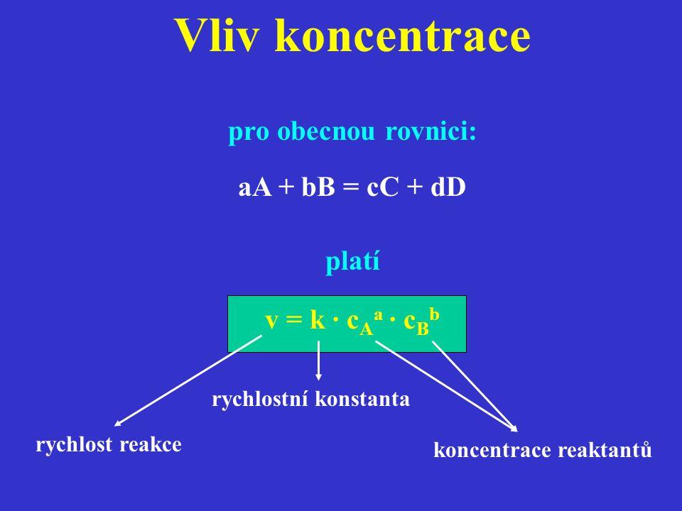 Vliv koncentrace pro obecnou rovnici: aA + bB = cC + dD platí v = k · c A a · c B b rychlost reakce rychlostní konstanta koncentrace reaktantů