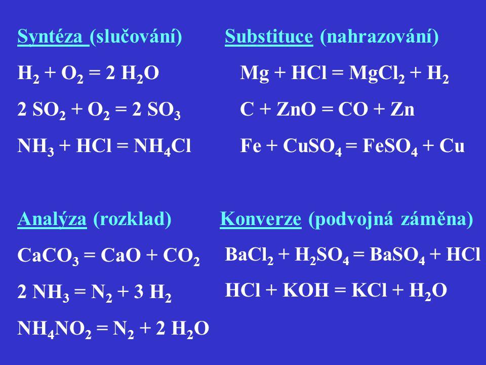 Syntéza (slučování) H 2 + O 2 = 2 H 2 O 2 SO 2 + O 2 = 2 SO 3 NH 3 + HCl = NH 4 Cl Substituce (nahrazování) Mg + HCl = MgCl 2 + H 2 C + ZnO = CO + Zn