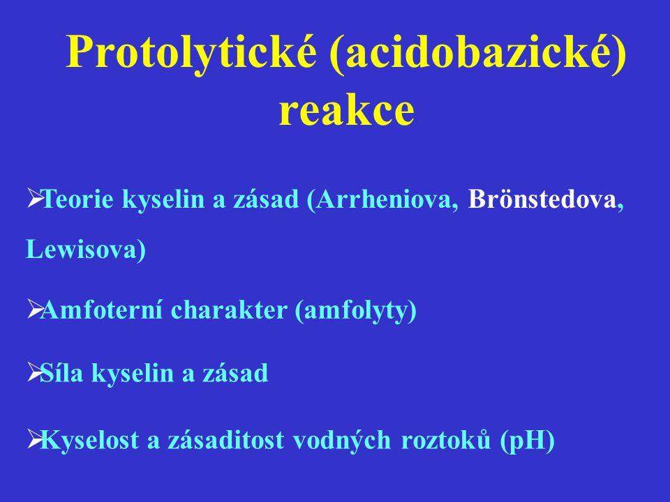 Protolytické (acidobazické) reakce  Teorie kyselin a zásad (Arrheniova, Brönstedova, Lewisova)  Amfoterní charakter (amfolyty)  Síla kyselin a zása