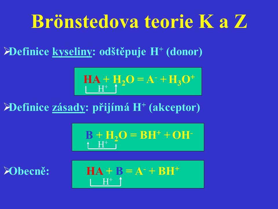 Brönstedova teorie K a Z  Definice kyseliny: odštěpuje H + (donor) HA + H 2 O = A - + H 3 O +  Definice zásady: přijímá H + (akceptor) B + H 2 O = B