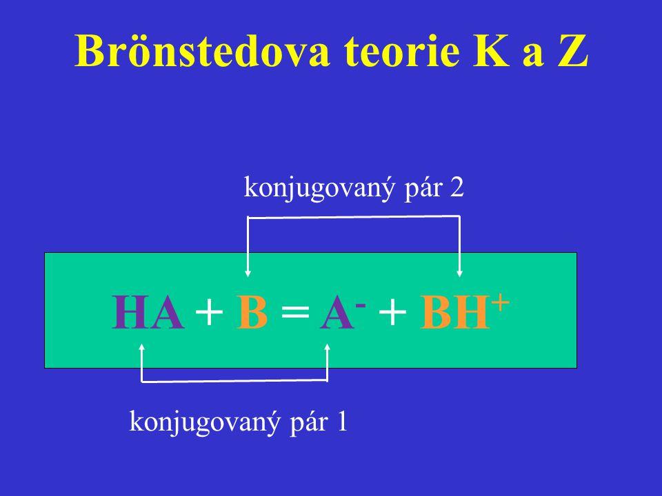 Brönstedova teorie K a Z HA + B = A - + BH + konjugovaný pár 2 konjugovaný pár 1