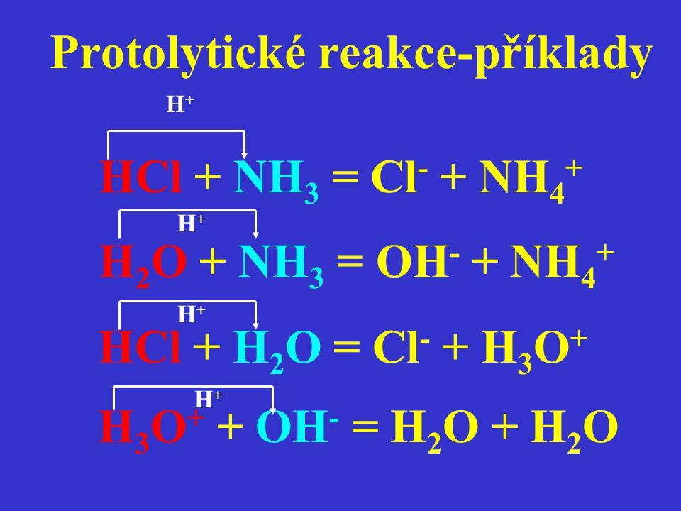 Protolytické reakce-příklady HCl + NH 3 = Cl - + NH 4 + H+H+ H 2 O + NH 3 = OH - + NH 4 + HCl + H 2 O = Cl - + H 3 O + H 3 O + + OH - = H 2 O + H 2 O