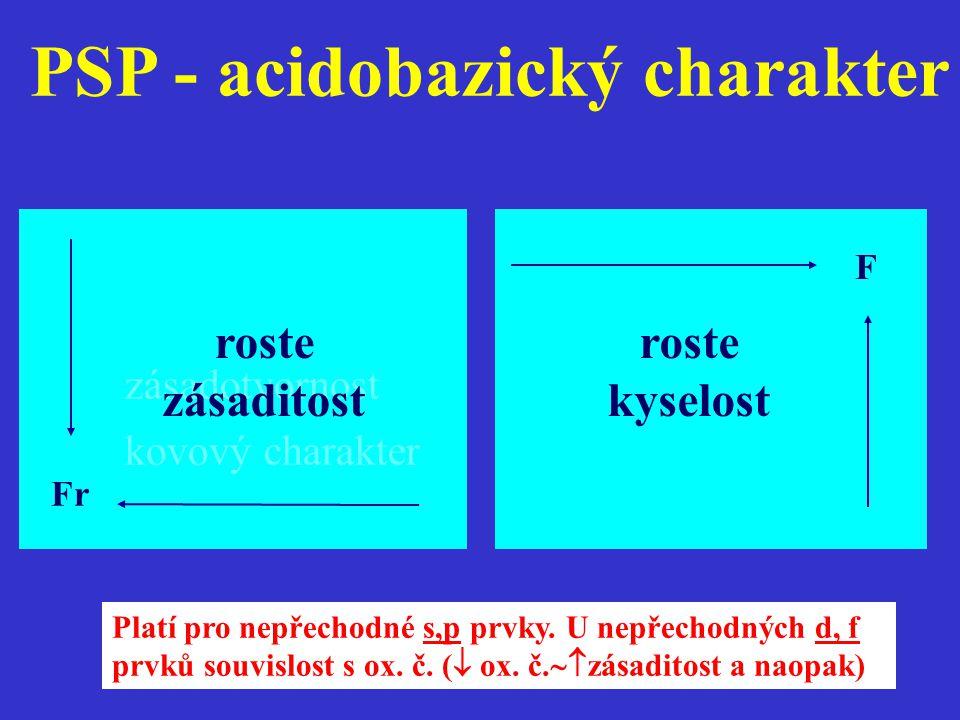 PSP - acidobazický charakter F roste kyselost zásadotvornost kovový charakter Fr roste zásaditost Platí pro nepřechodné s,p prvky. U nepřechodných d,