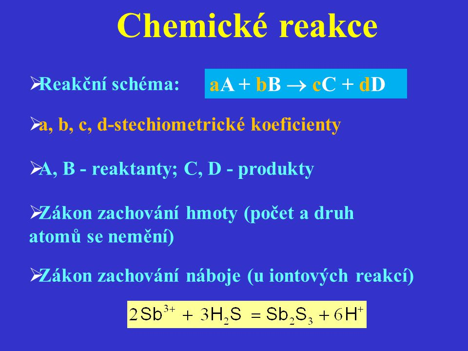 Rovnováha chemických reakcí  nevratné (jednosměrné) reakce: A + B  AB  vratné (obousměrné) reakce: A + B  AB