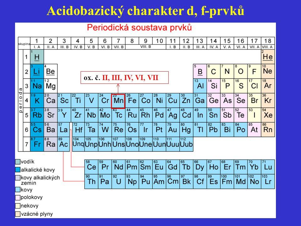 Acidobazický charakter d, f-prvků ox. č. II, III, IV, VI, VII