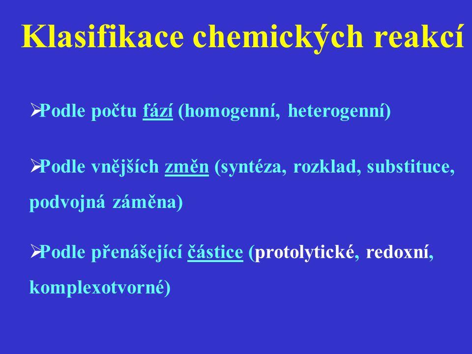 Klasifikace chemických reakcí  Podle počtu fází (homogenní, heterogenní)  Podle vnějších změn (syntéza, rozklad, substituce, podvojná záměna)  Podl