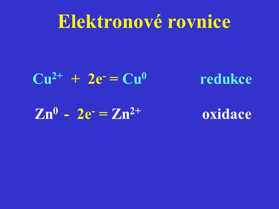 Elektronové rovnice Cu 2+ + 2e - = Cu 0 redukce Zn 0 - 2e - = Zn 2+ oxidace