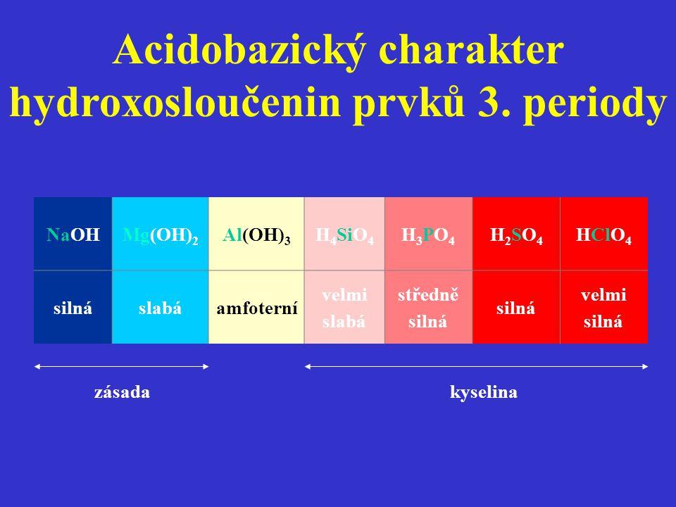 NaOHMg(OH) 2 Al(OH) 3 H 4 SiO 4 H3PO4H3PO4 H2SO4H2SO4 HClO 4 silnáslabáamfoterní velmi slabá středně silná velmi silná zásada kyselina Acidobazický ch
