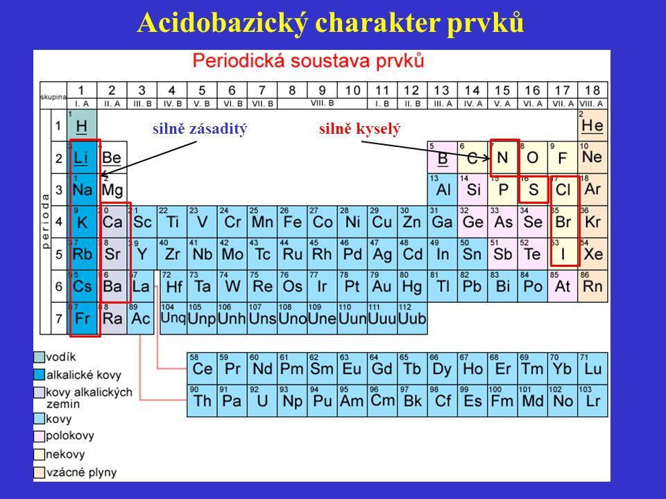 silně zásaditý silně kyselý Acidobazický charakter prvků
