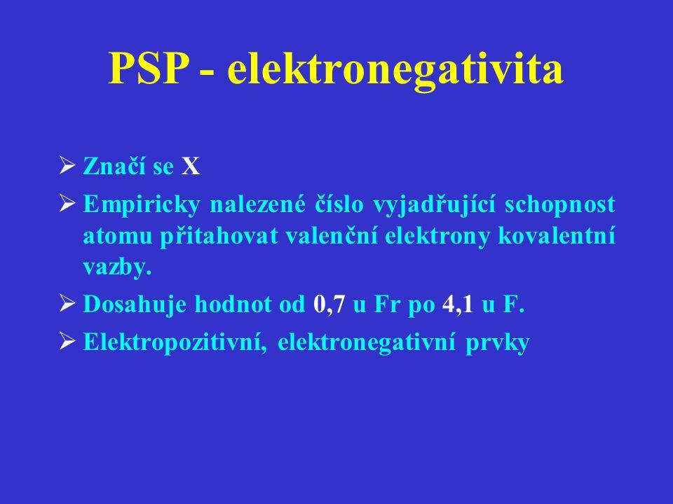 PSP - elektronegativita  Značí se X  Empiricky nalezené číslo vyjadřující schopnost atomu přitahovat valenční elektrony kovalentní vazby.  Dosahuje