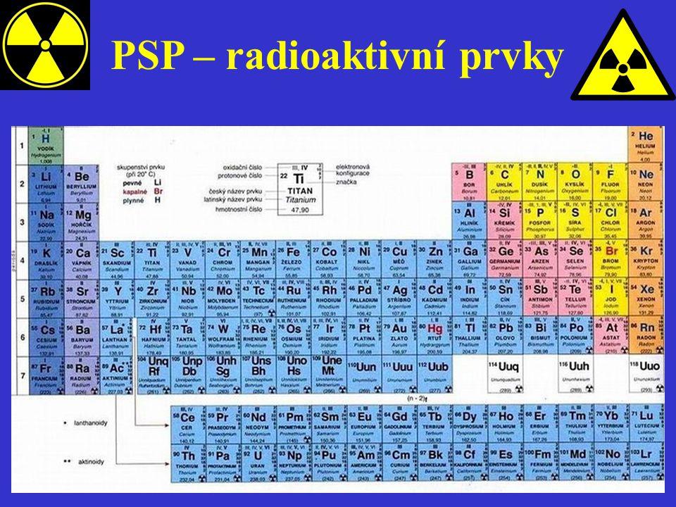 PSP – atomový poloměr zásadotvornost kovový charakter Fr roste F klesá Čím větší atom.