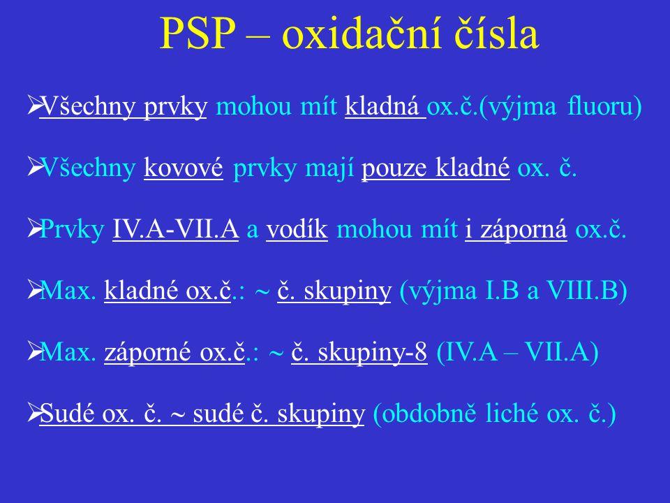 PSP – oxidační čísla  Všechny prvky mohou mít kladná ox.č.(výjma fluoru)  Všechny kovové prvky mají pouze kladné ox. č.  Prvky IV.A-VII.A a vodík m