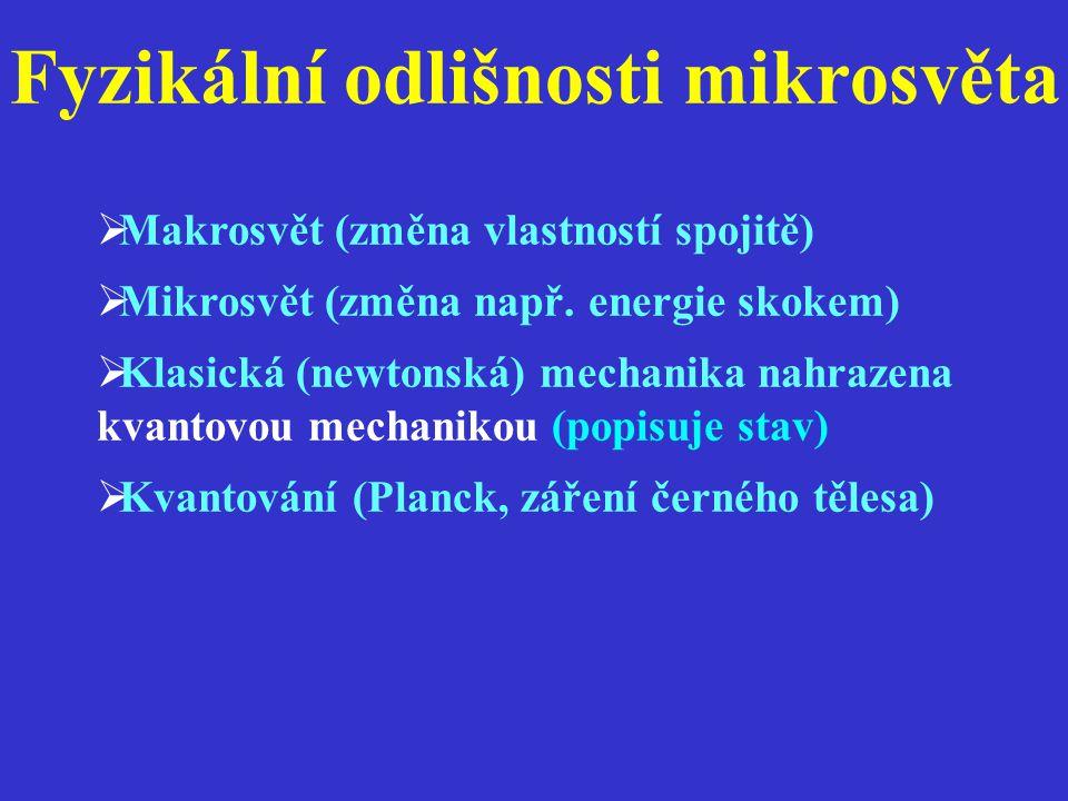 Fyzikální odlišnosti mikrosvěta  Makrosvět (změna vlastností spojitě)  Mikrosvět (změna např. energie skokem)  Klasická (newtonská) mechanika nahra