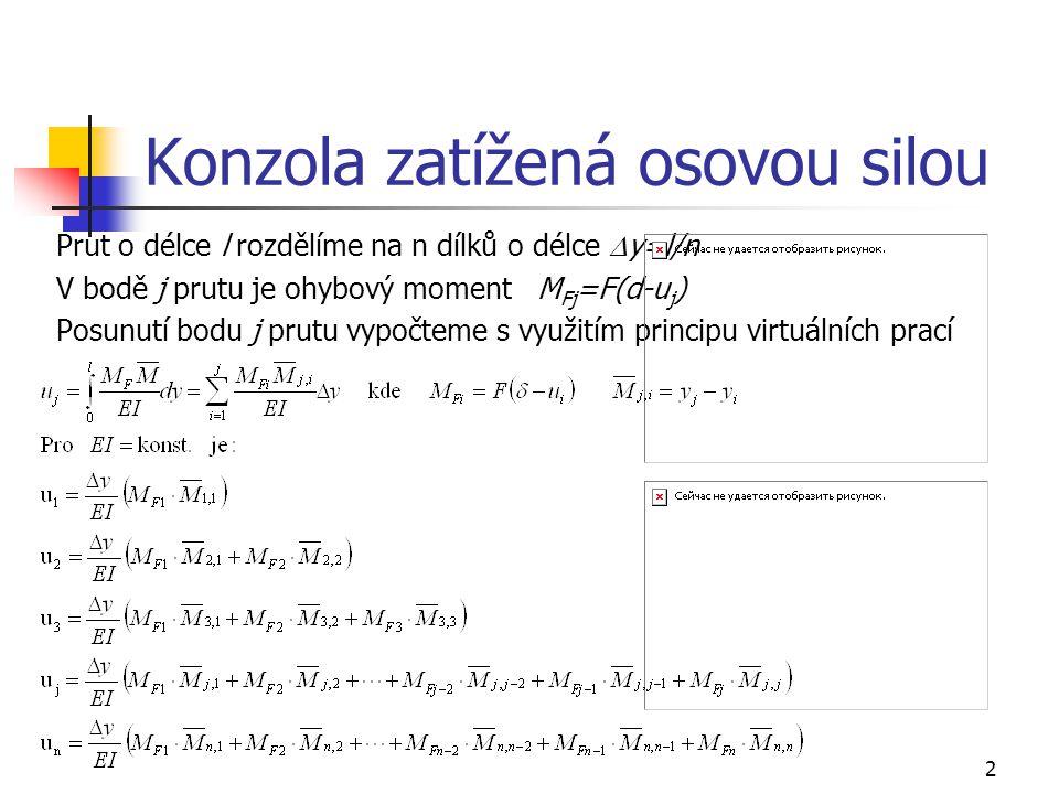 2 Konzola zatížená osovou silou Prut o délce l rozdělíme na n dílků o délce  y=l/n V bodě j prutu je ohybový moment M Fj =F(d-u j ) Posunutí bodu j prutu vypočteme s využitím principu virtuálních prací