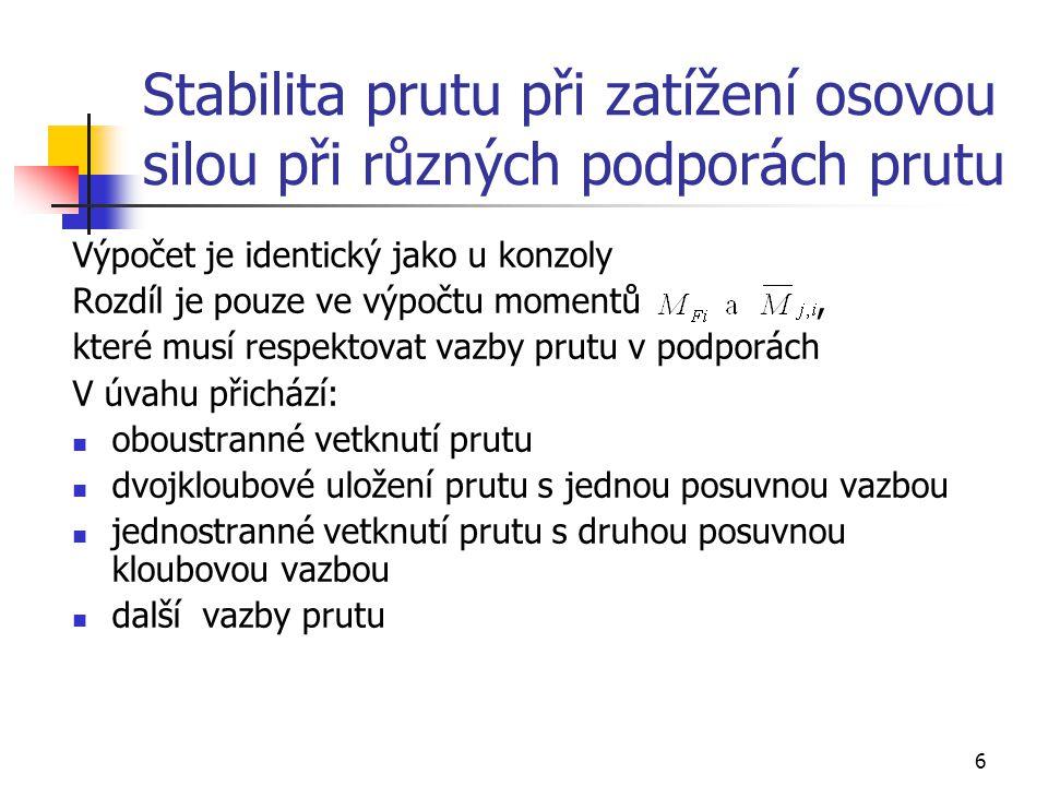 7 Stabilita konzoly při zatížení osovou silou a při proměnlivém průřezu