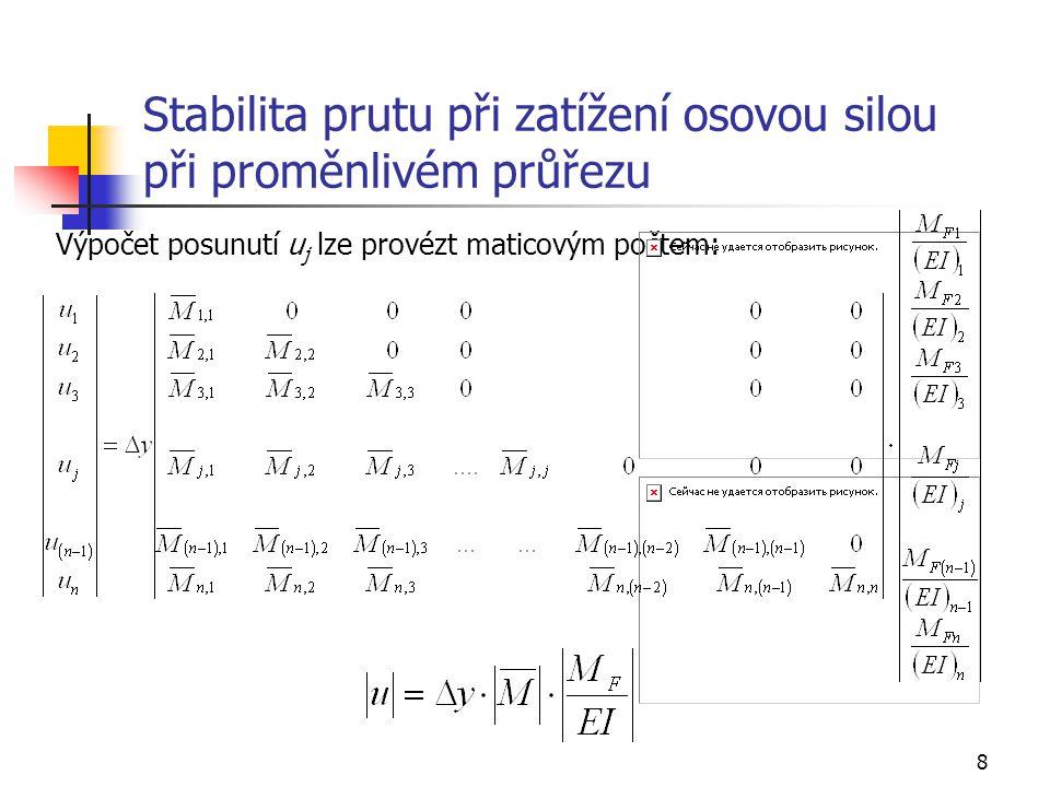 8 Stabilita prutu při zatížení osovou silou při proměnlivém průřezu Výpočet posunutí u j lze provézt maticovým počtem: