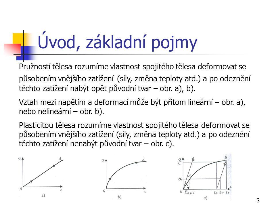 3 Úvod, základní pojmy Pružností tělesa rozumíme vlastnost spojitého tělesa deformovat se působením vnějšího zatížení (síly, změna teploty atd.) a po