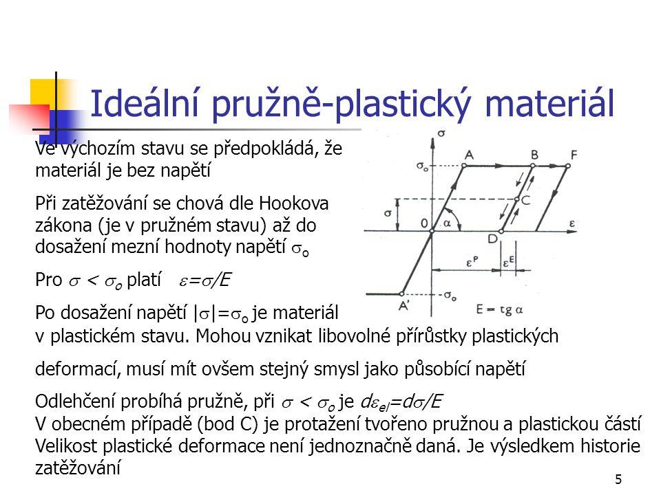 5 Ideální pružně-plastický materiál Ve výchozím stavu se předpokládá, že materiál je bez napětí Při zatěžování se chová dle Hookova zákona (je v pružn