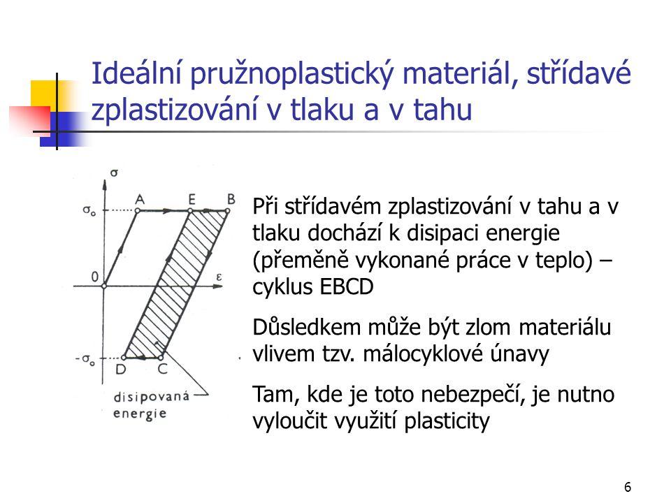 17 Jednoduché úlohy pružně-plastické rovnováhy, pružně-plastický ohyb Uvažujme pružně-plastický ohyb nosníku se dvěma osami symetrie zatížený rovnoměrným postupně rostoucím zatížením Pro vnitřní síly platí známé vztahy: Nejexponovanější průřez prochází při zatěžování postupně stavem: pružným pružněplastickým plastickým ( po vytvoření plastického kloubu)