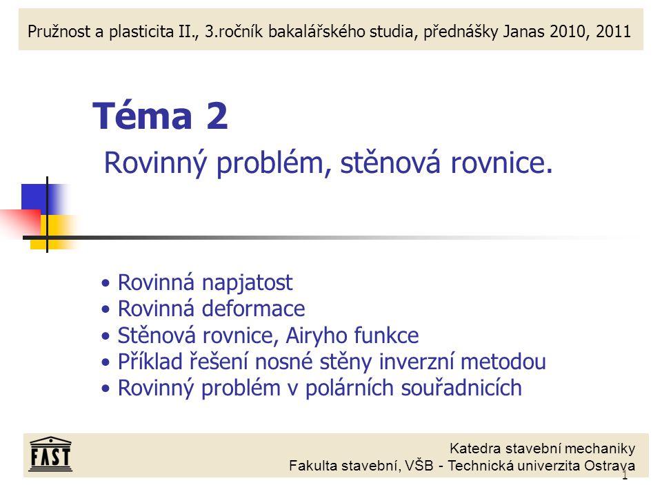 1 Katedra stavební mechaniky Fakulta stavební, VŠB - Technická univerzita Ostrava Pružnost a plasticita II., 3.ročník bakalářského studia, přednášky J