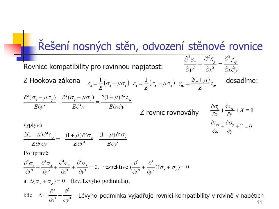 11 Řešení nosných stěn, odvození stěnové rovnice Rovnice kompatibility pro rovinnou napjatost: Z Hookova zákona dosadíme: Lévyho podmínka vyjadřuje ro
