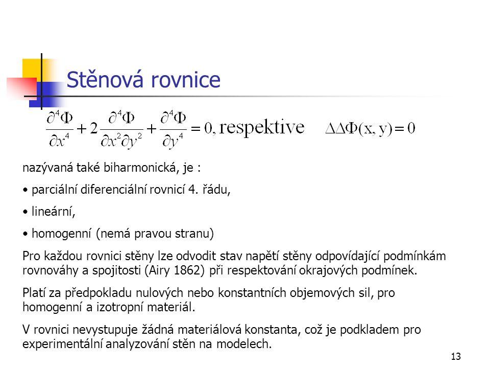 13 Stěnová rovnice nazývaná také biharmonická, je : parciální diferenciální rovnicí 4. řádu, lineární, homogenní (nemá pravou stranu) Pro každou rovni
